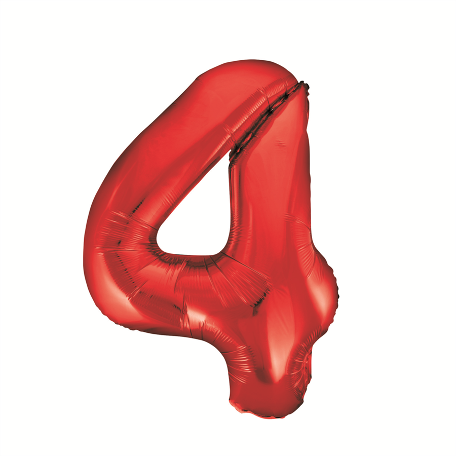 34 U0026quot  Red Number  4 Foil Balloon